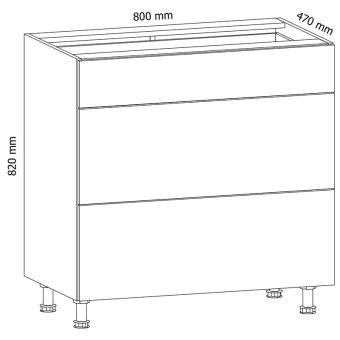 ASPEN 2 D80S3 Szafka dolna z 3 szufladami