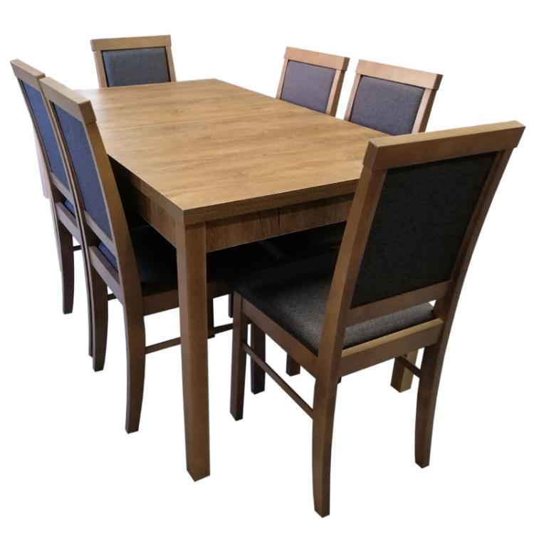 ROMAN + krzesło S-33 x 6 szt zestaw stołowy
